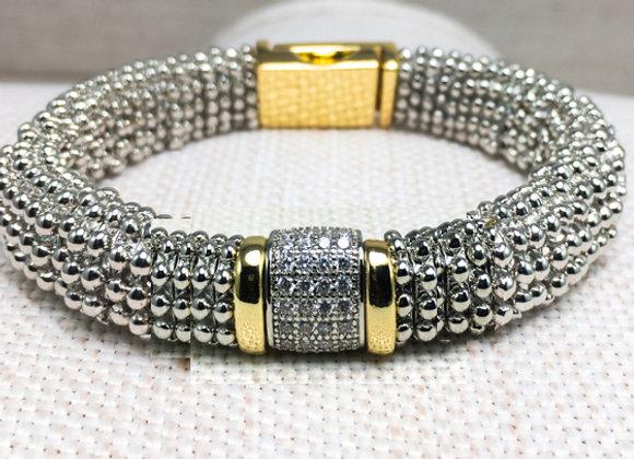 Two Tone CZ Bead Bracelet