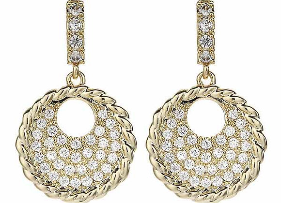 Fashion CZ Medallion Earrings Gold