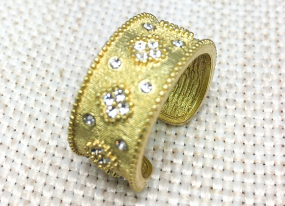 Brushed Gold Fashion Ring with CZ Flower Accents