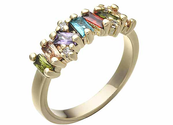 Multicolored Gem Cluster Strand Fashion Ring