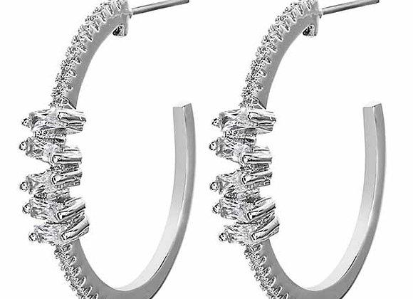 CZ Accent Half Hoop Fashion Earrings