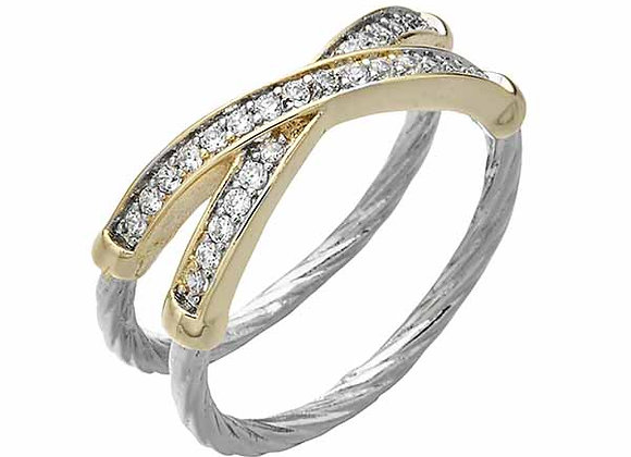 Double Band CZ Crossover Fashion Ring
