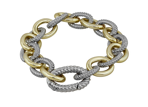 Fashion Two Tone Chain Link Bracelet