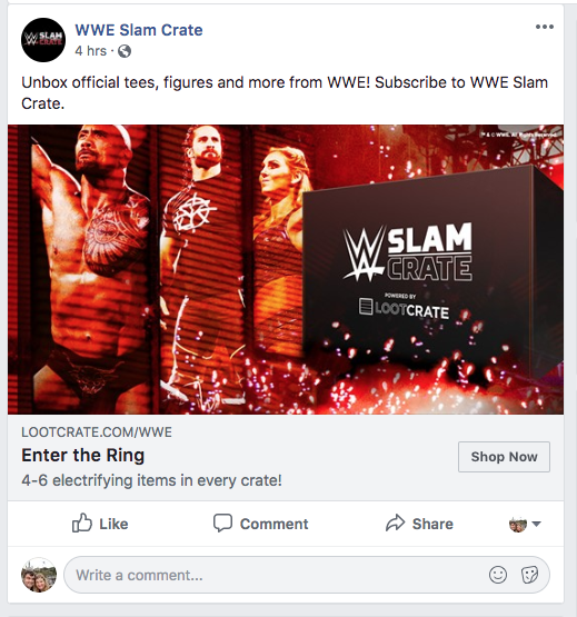 WWE Slam Crate Facebook ad