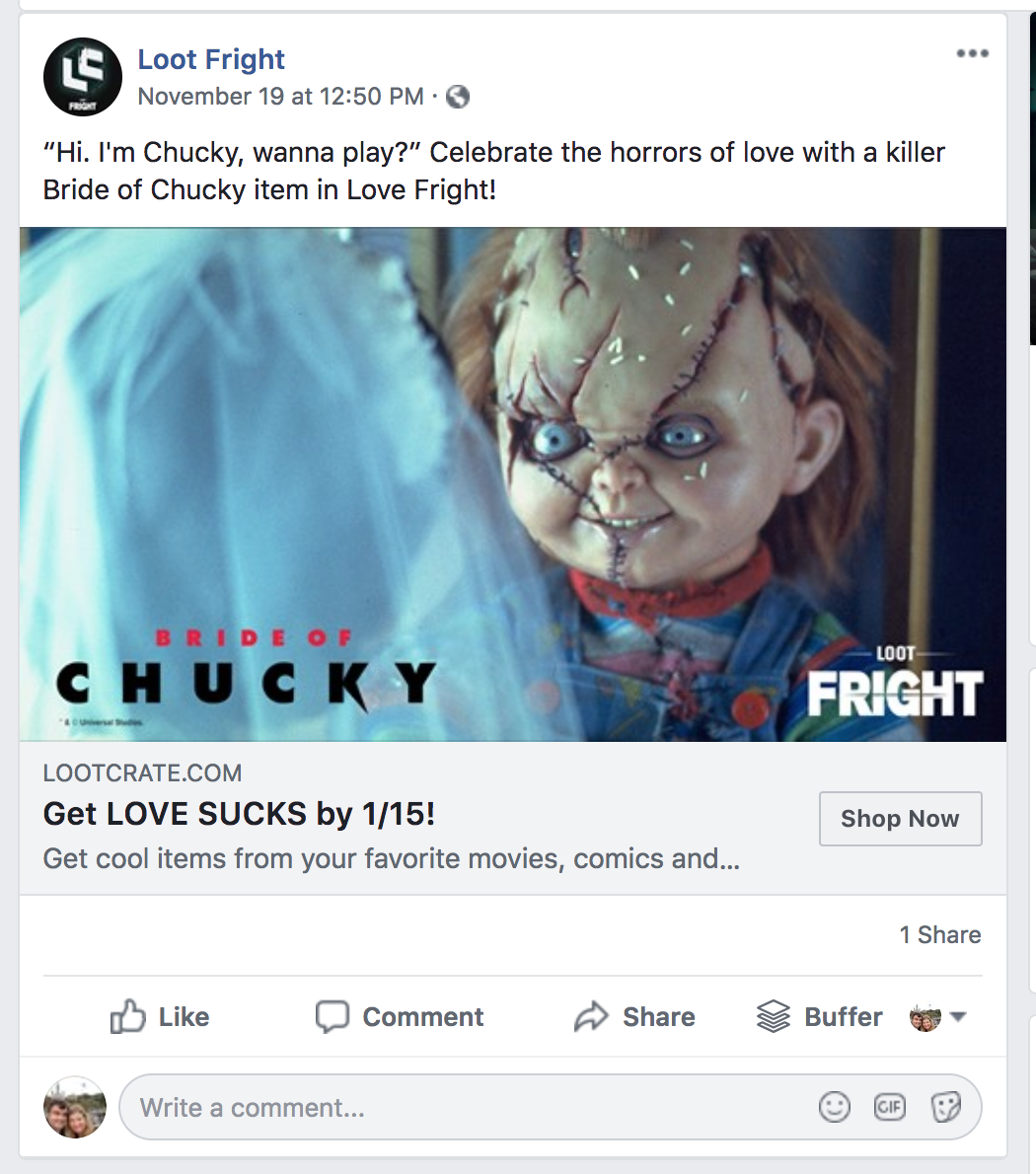 Loot Fright Facebook ad