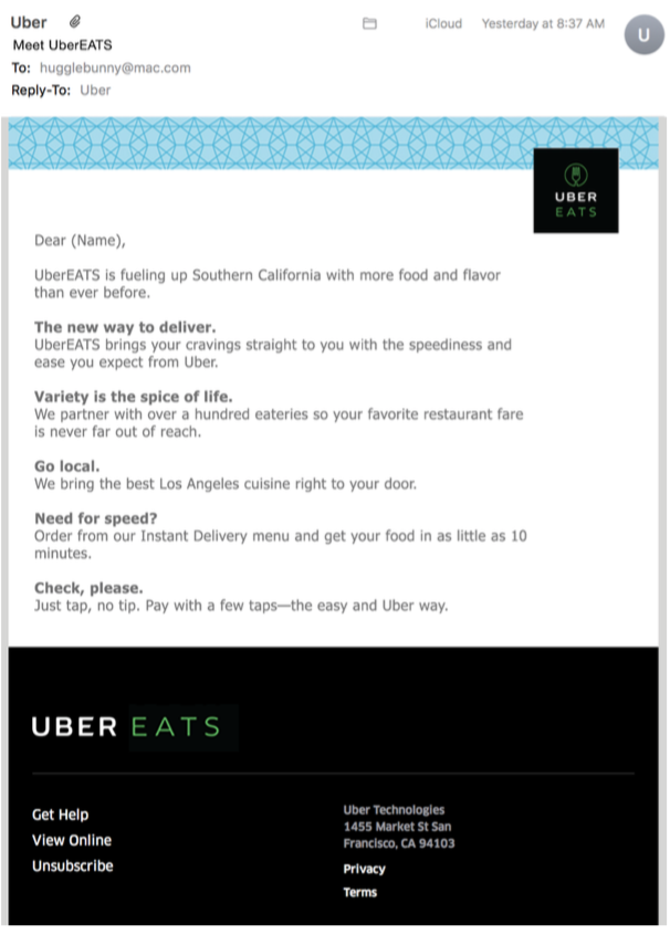 Uber Eats spec email