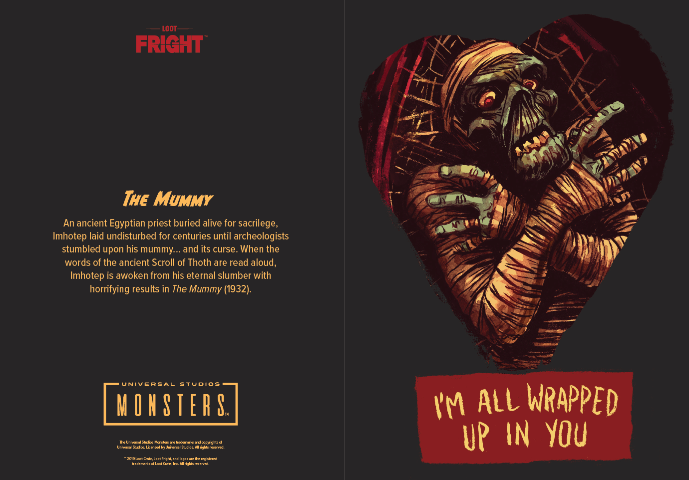 Loot Fright Universal Monsters valentine