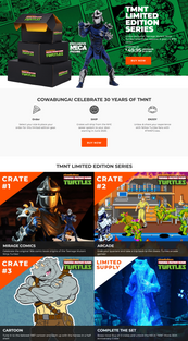 Ninja Turtles Limited Edition Crate Series website marketing copy