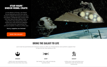 Star Wars Endor Rebel Crate website marketing copy