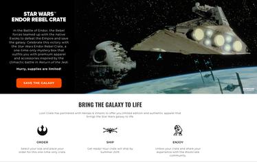 Star Wars Endor Rebel Crate website marketing copy