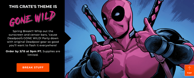 Deadpool Club Merc website marketing copy