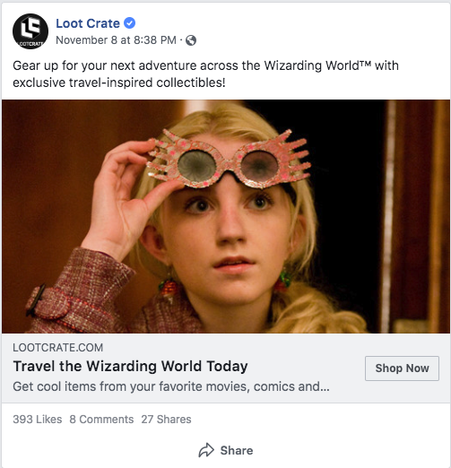 Wizarding World Facebook ad