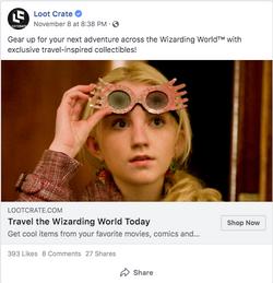Wizarding World Facebook ad