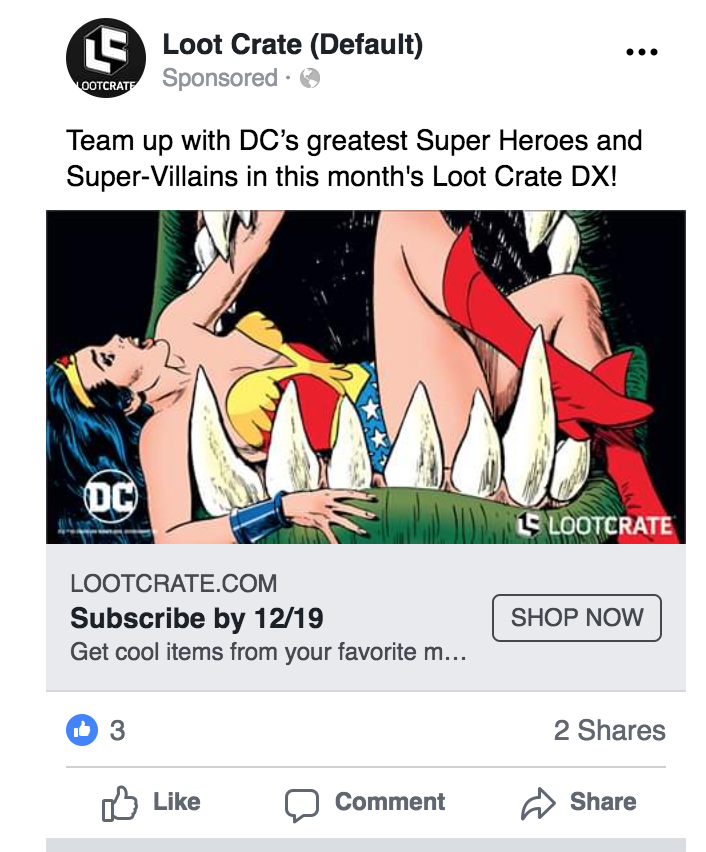 Loot Crate DX Facebook ad