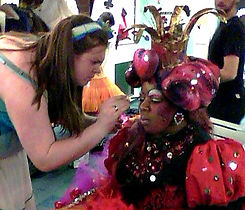Emily doing the Red Queens makeup..jpg