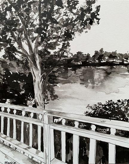 Monica List-Malibou Lake-8x10_acrylic in