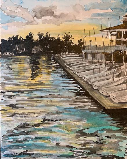 Monica List painting of Westlake Yacht Club