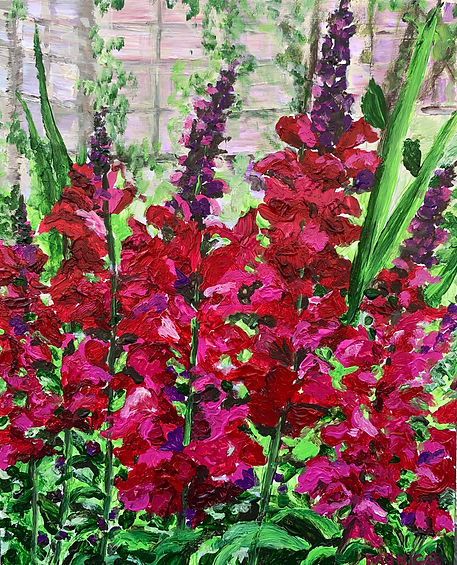 Monica List painting of Snapdragons