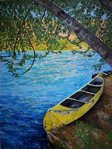 Monica List painting of Old Canoe