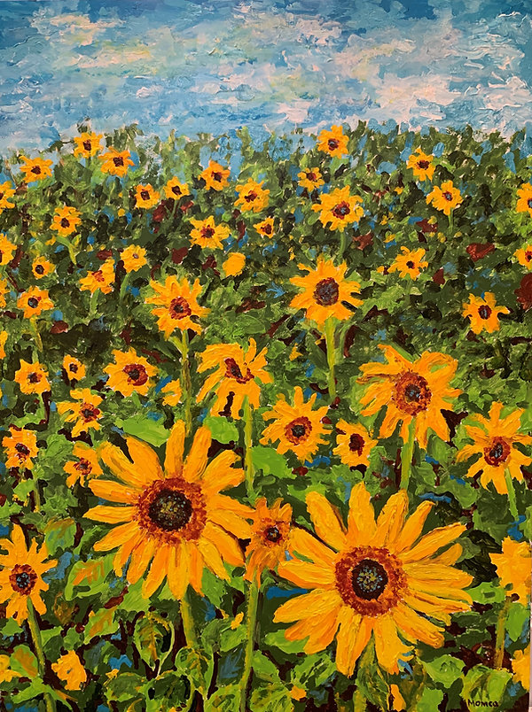 Monica List painting of Sunflowers