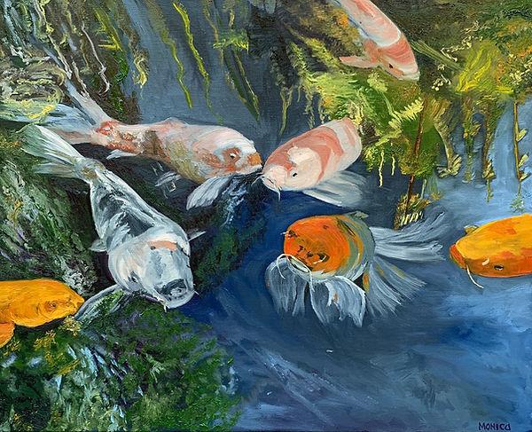 Monica List painting of Koi Pond