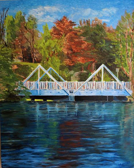Monica List painting of Malibou Lake Bridge