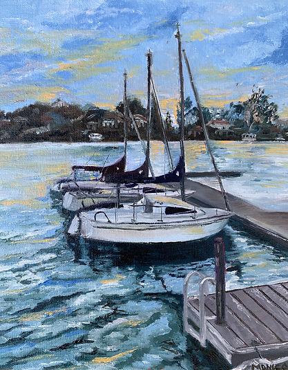 Monica List painting of Sunset Dock