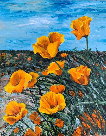 Monica List painting of California Poppies