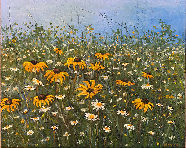 Monica List painting of field of flowers