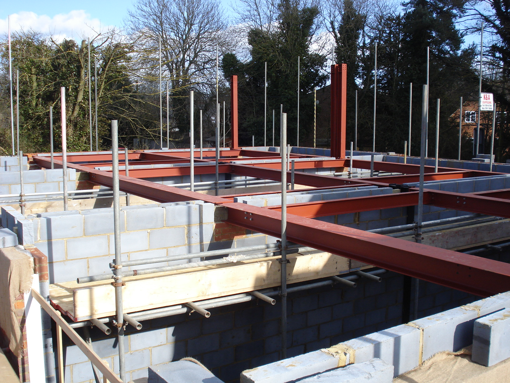 Structural steel work being erected