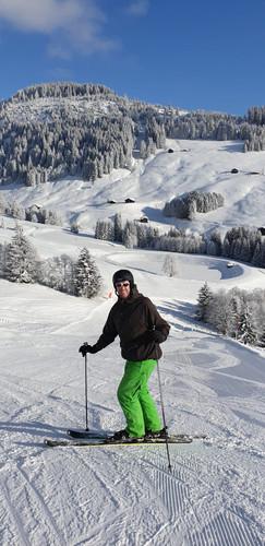 Am Skifahren in der Surselva im Bündner Oberland
