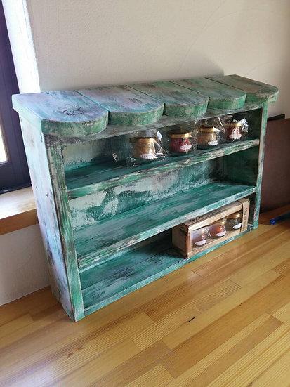 手作り ランダムカラー木製スパイスラック・キッチン収納