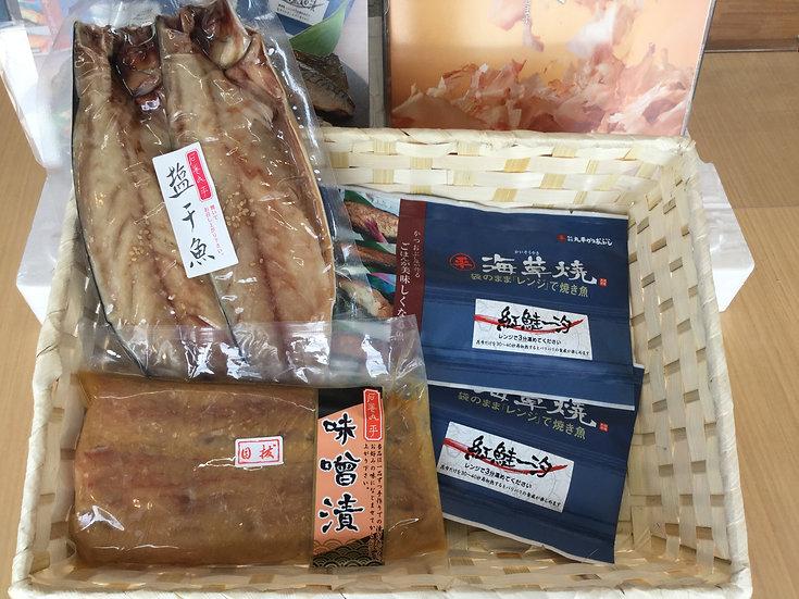 よりどりセット(さば一汐×1、海草焼(紅鮭一汐)×2、目抜味噌漬×1)