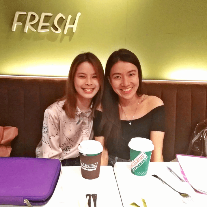Two girls smiling at Krispy Kreme | Get more for less with Booky | A Lifestyle Blog by Andi | Philippines