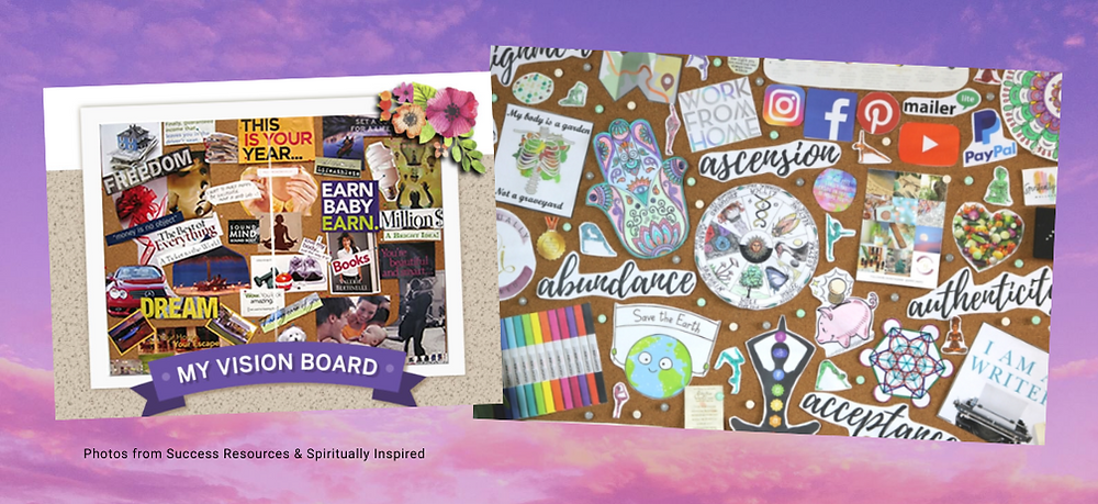 Examples of vision boards. Photos from Success Resources and Spiritually Inspired