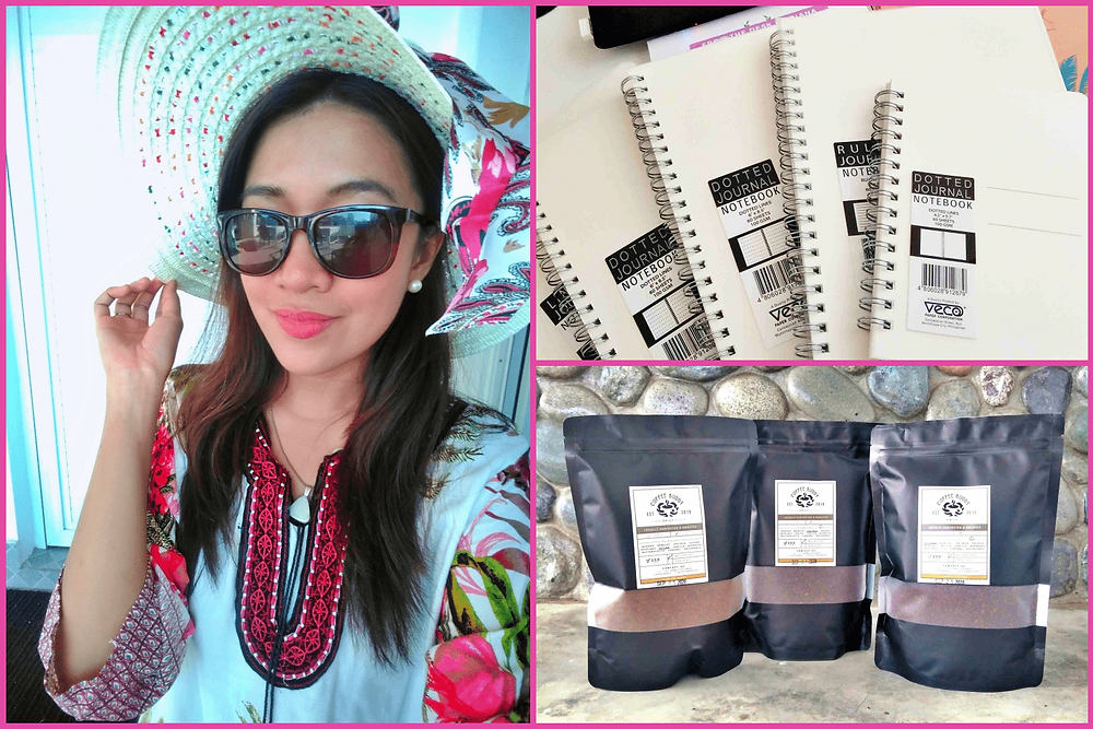 Photo of Asian girl wearing a hat. Notebooks for journaling (VECO Paper Corporation) and coffee grounds from Coffee Buddy PH | A Lifestyle Blog by Andi | Philippines