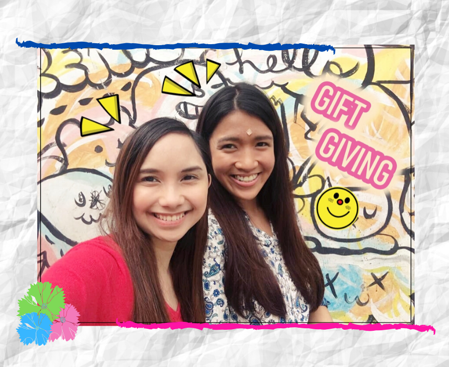 Photos of two girls smiling.