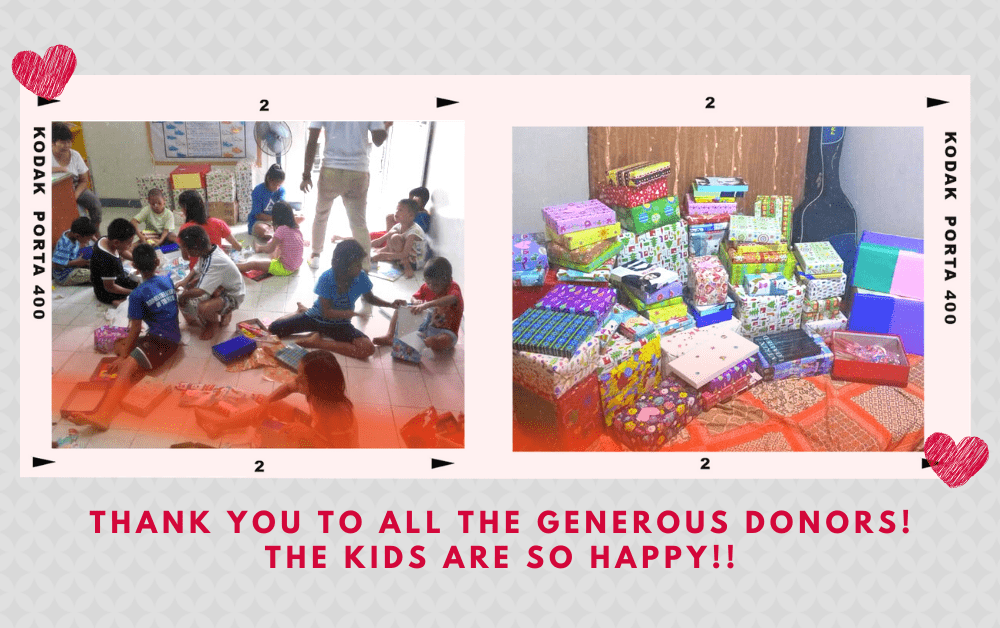 Photos of children opening their presents   A Lifestyle Blog by Andi   Virlanie Foundation Philippines