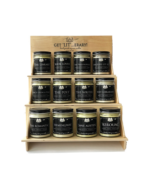 Best Selling Literary Candles + Wooden Display