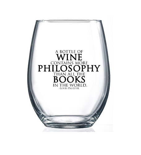 Wine contains more Philosophy - 15oz Stemless Wine Glass
