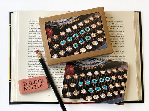 THANK YOU - vintage typewriter - Boxed Set of 8 Thank You Note Cards