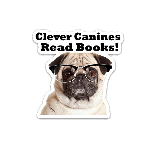 Clever Canines Read Books-Vinyl Sticker
