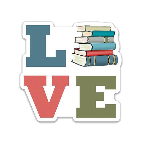 LOVE books. Vinyl Sticker