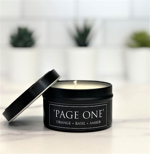 Page One 6 oz Literary Tin Soy Candle (Qty 2 @ $7.00ea)