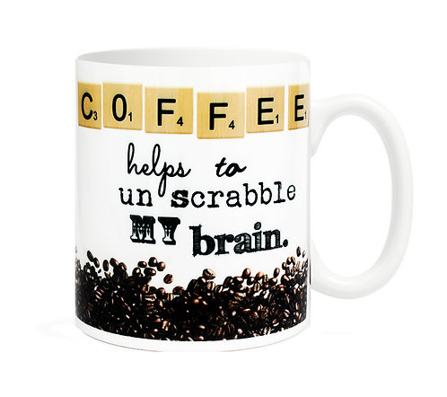Coffee helps to unscrabble my brain. 11 oz Coffee Mug