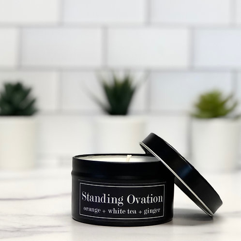 Standing Ovation 6 oz Literary Tin Soy Candle (Qty 2 @ $7.00ea)