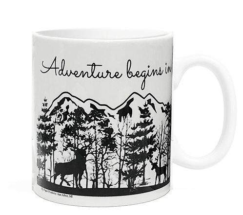 Adventure begins in YOUR city or state name- 11oz Coffee Mug