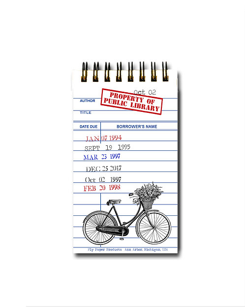 Vintage Bicycle Library Card Memo Pad - 30 White Pages