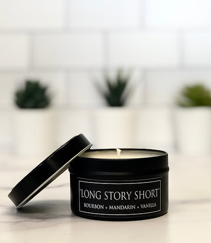 Long Story Short 6 oz Literary Tin Soy Candle (Qty 2 @ $7.00ea)