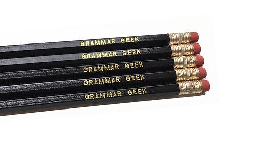 Set of 5 'Grammar Geek' Pencils